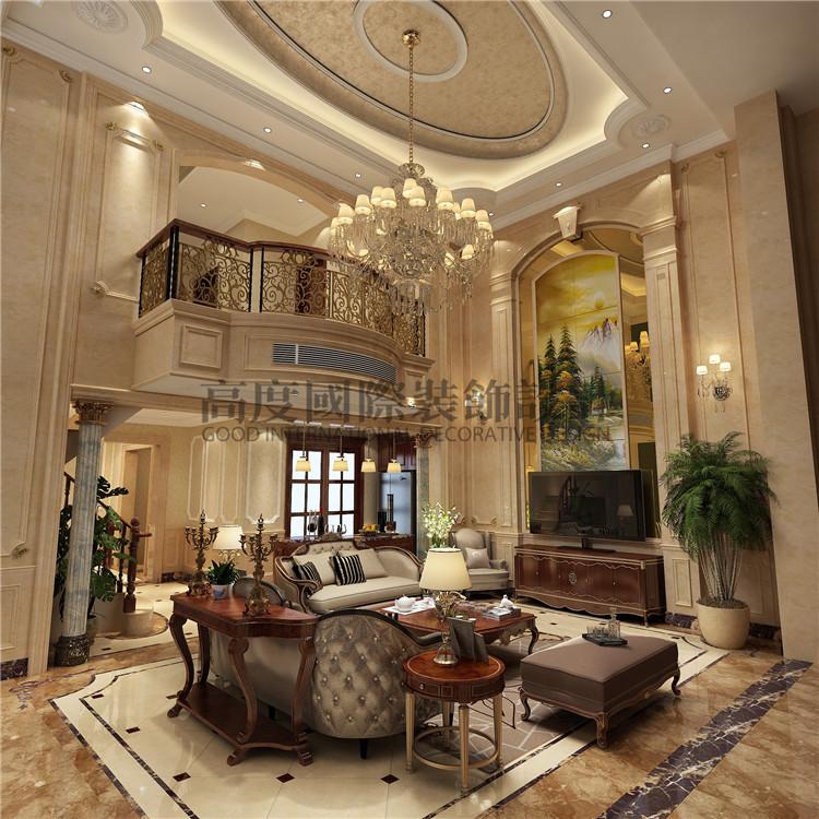 床上面没有主光源,这个卧室空间也比较大,前面是一个休息区,两组沙发,有时可以两个人躺在沙发上看看电视,很不错的哦  餐厅装修 保利花园五期175平米欧式别墅装修 成都高度国际装饰设计  地下室作为娱乐休闲区 朋友一般来了就这里呆的时间是最多的,所以下面配了一个洒吧区,还有一个会客区,一起看电影聊聊天喝点酒  目前高度国际成都公司在保利花园的平层、别墅都有做好的全案设计,看设计报价跟我联系哦!保利花园在成都武侯大道聚龙路,跟离成都高度国际装饰就10多分钟的路程